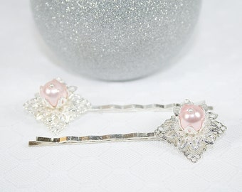 Pink Faux Pearl Flower Hair Clips Pink Wedding Hair Clips Pink Bridesmaids Hair Clips