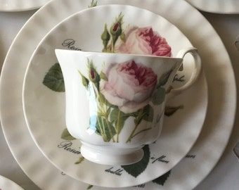 Service  for 10 Gorgeous English Tea Set Roy Kirkham Fine Bone China 32 pieces Redoute Roses teacups saucers plates with sugar and creamer