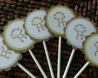 Monkey Baby Shower Cupcake toppers- Monkey Birthday Party Cupcake toppers set of 10 --Monkey Favor Tags