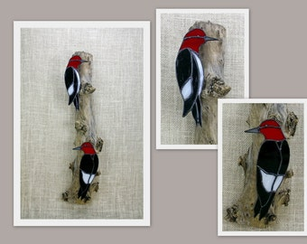 Red Headed Woodpecker Pair Birds Stained Glass Wall Sculpture, Glass Art, Stained Glass, Wall Decor