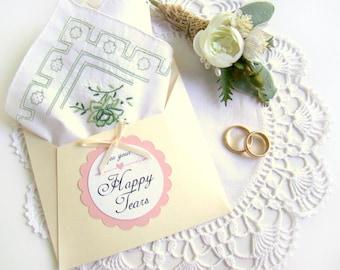 Wedding Handkerchief, Vintage Handkerchief, Happy Tears Hanky, Emerald Green Applique Embroidery, Mother of Bride Gift, Mother of Groom Gift