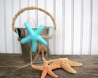 Beach Wedding Flower Girl Basket Beach Decor Blue Starfish Silver Pail Destination Wedding Wedding Flowers Flower Girl Flowers
