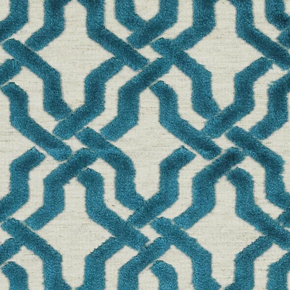 Trellis Upholstery Fabric Teal Velvet Fabric For Furniture - Designer upholstery fabric teal