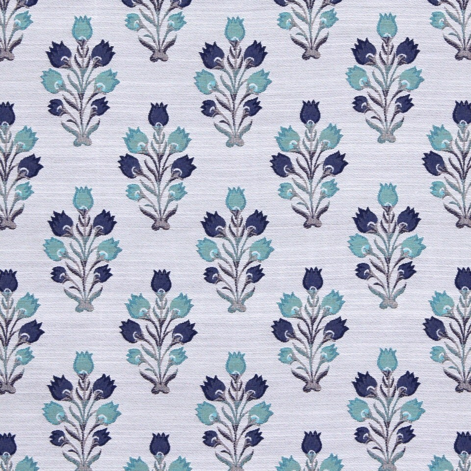 modern aqua navy blue upholstery fabric contemporary floral. Black Bedroom Furniture Sets. Home Design Ideas