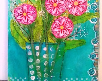Pink Flowers Floral Blue Teal Aqua Mixed Media Collage Acrylic Canvas Painting Still Life Folk Art Primitive Wall Hanging Decor ZOGGIE STYLE