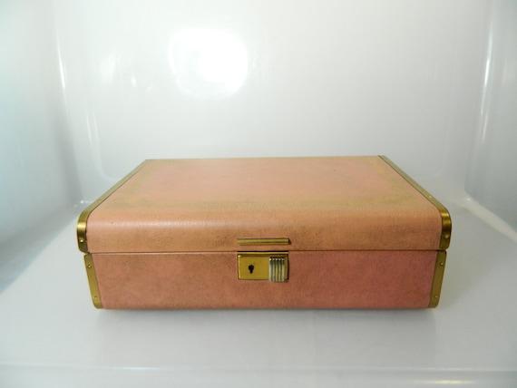 Vintage farrington jewelry box with key genuine texol locking for Jewelry box with key