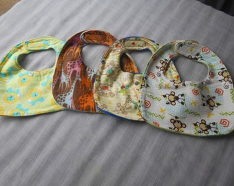 Jungle Animal BABY BIBS with Velcro Fastners