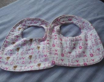 I Love Grandma' or 'I Love Mommy' & 'I Love Daddy' BABY BIBS with Velcro Fastner