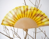 Hand fan handpainted spring. gift wedding. brown and yellow. personalized gift for women or girl.