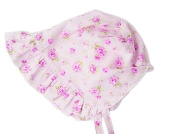 Vintage style heirloom bonnet with pink rose floral fabric