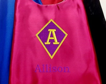 Super Hero Cape,  Embroidered Super Sister Cape Personalized with Name and Initial Hot Pink