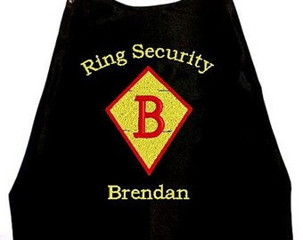 Super Hero Cape  Ring Bearer Diamond  Embroidered Ring Security Cape Personalized Wedding Photo Op