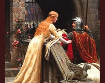 Medieval Art - Godspeed Painting - Edmund Leighton - Princess Art - Knight Art - SCA - Medieval Decor - Queen Art - King Art