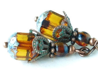 Sparkling amber earrings - Picasso Czech glass beads & copper