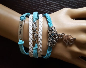 Turquouise Blue and White Braided Leather Cord Dream Angel Charm Bracelet