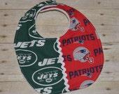 New York Jets / New England Patriots NFL House Divided Baby Bib