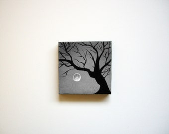 Haunted Tree   Original Acrylic Painting   3x3 Inches   By Janelle Anakotta