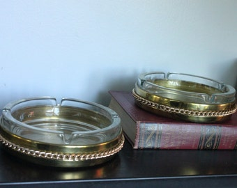 Classic and classy Bates of Birmingham England mid century brass and glass HEAVY ashtray 1960s , 2 available, catch all, wine bottle coaster