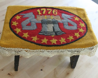 Antique Foot Stool Covered With 1776 hand embroidered, antique lace, hand stitched, patriotic decor, primitive foot stool, Liberty Bell