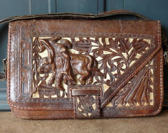 Hand Tooled Leather Purse, Brown, Southwestern, Relief, Shoulder Bag, Front flap, Artisan, Western, Accessories