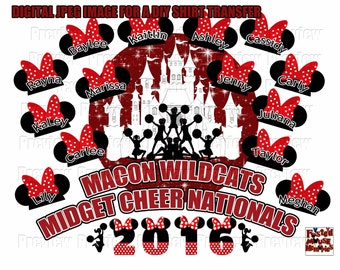 Personalized Cheer Nationals T-shirt Transfer Design - DIY Disney Cheerleaders Shirt - DIY Cheerleading Team Shirt Transfer Image