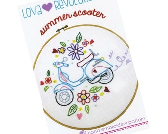 Embroidery Pattern | Modern Hand Embroidery Pattern by Lova Revolutionary Summer Scooter Embroidery Design