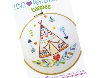 Embroidery Pattern | Modern Hand Embroidery Pattern by Lova Revolutionary Teepee Embroidery Design