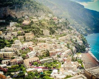 Positano View - Amalfi Coast Photography - Italy Art, Italian Photography - Positano Color - Positano Italy - Vintage, Retro, Rustic