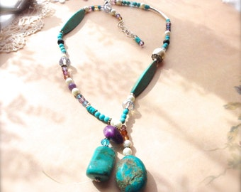 Multi Stone Necklace, Turquoise and Crystal Necklace, Lariat Style Necklace, Western Jewelry, Rustic Jewelry, Cowgirl Necklace *NOVALEIGH*