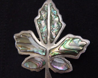 Beautiful Vintage Sterling and Abalone Leaf Pin TAXCO