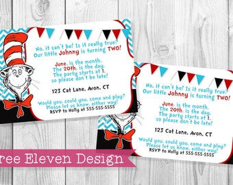 Cat in the Hat PRINTABLE Birthday Invitation