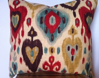 Ikat pattern turquoise and red pillow cover accent pillow decorative pillow