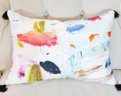 Pierre Frey Arty Tassel Lumbar Pillow Cover - Contemporary Modern Multi Colored Pillow Cover - Blue Coral Black Pink Yellow Orange
