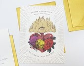 Burning Heart - Antiquated etched look with pops of color wedding save the date