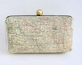 North Dakota Road Map Minaudière Box Clutch Purse - Includes Chain - Ready to Ship