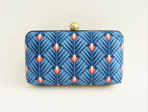 Gorgeous Blue and Orange Fan 1920's Style Minaudiere Box Clutch - Bridal/Evening/Bridesmaid/Prom Purse - Crossbody Chain - Ready to Ship