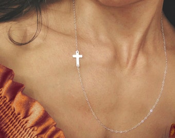 Sideways Cross Necklace, Small Cross Necklace, Silver Sideways Cross, Long Necklace, Long Layering Necklace, Cross Necklace, Easter Necklace