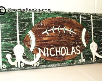 Football Team Colors Hook Wall Rack Man Cave Nursery Art Teens Room Decor Personalized Team Sports Theme Decor Custom Colors Football Field
