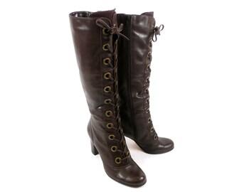 Vintage 60s 70s Nordstrom BP Dark Brown Mod Preppy Hipster Laced Knee High Boots 7 7.5
