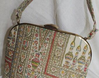 Vintage Handbag: MM Small Moroccan Multicolor Fabric Handle 1960s