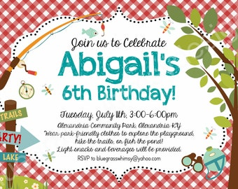 Picnic in the Park, Outdoor Birthday Party - Printable Invitation