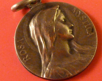 Antique Genuine silver 800 French Religious  Medal Virgin Mary  Lourdes Signed E. Dropsy   Pendant Old  Charm JV1