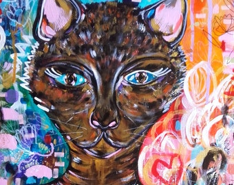 Cat Portrait Canvas - Original Portrait Cat - Céline Marcoz Art - Cat Fine Art - Cat Wall Art - Cat Portrait - Cat - Animal Portrait