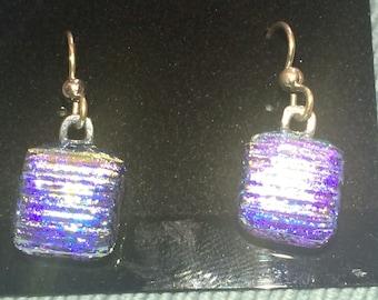 Rainbow Golden Dichroic Glass Earrings