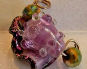 Purple Passion Conch Shell SRA Handmade Lampwork Glass Bead