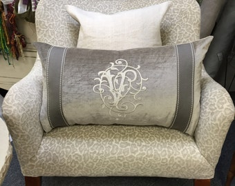 "Custom Monogrammed Velvet Pillow Cover.  14"" x 24"""