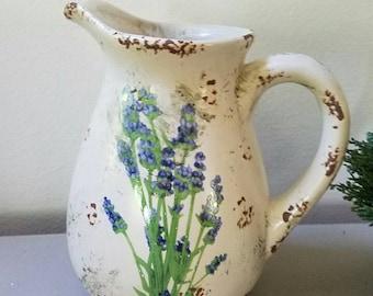 Pitcher with Lavender Flowers Glazed Pottery Pitcher Vase