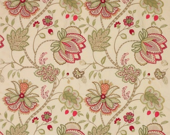 COLEFAX & FOWLER JACOBEAN Baptista Embroidered Silk Fabric 10 Yards Cream Oyster Green