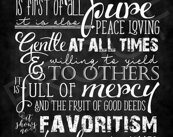 Scripture Art - James 3:17 ~ Chalkboard Style