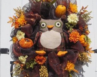 Fall Owl Wreath, Fall Mesh Wreath, Fall Door Wreath, Double Door Wreaths, Owl Wreath,  Fall Front Door Wreath, Wreath for Front Door